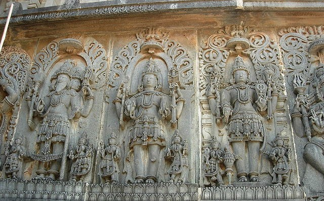 Depiction of the Trimurti at Hoysaleswara in Halebidu