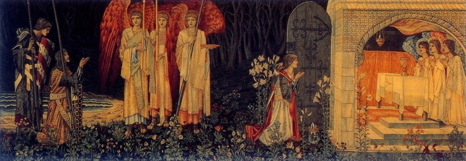 Galahad, Bors, and Percival achieve the Grail, a tapestry with figures by Edward Burne-Jones