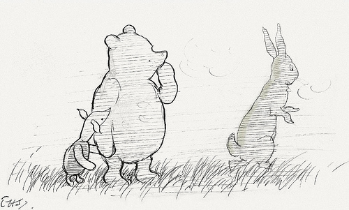 Pooh and friends lost in fog