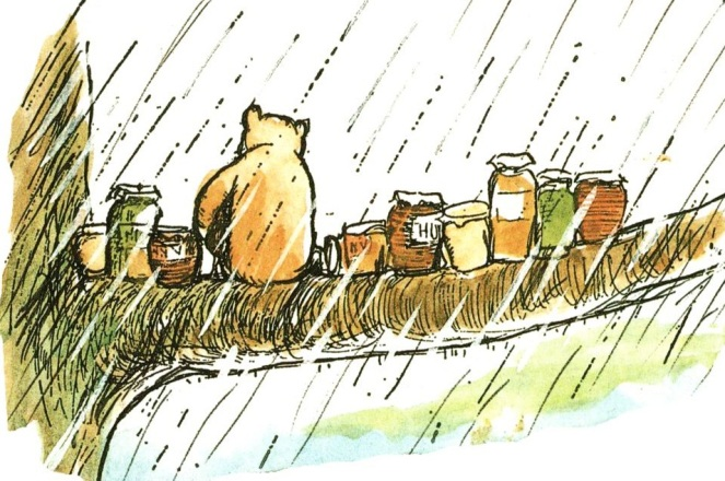 Winnie the Pooh with his pots