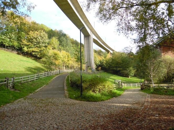 Metro bridge & leafy cobbles