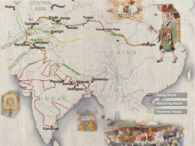 Xuanzang travel route to India